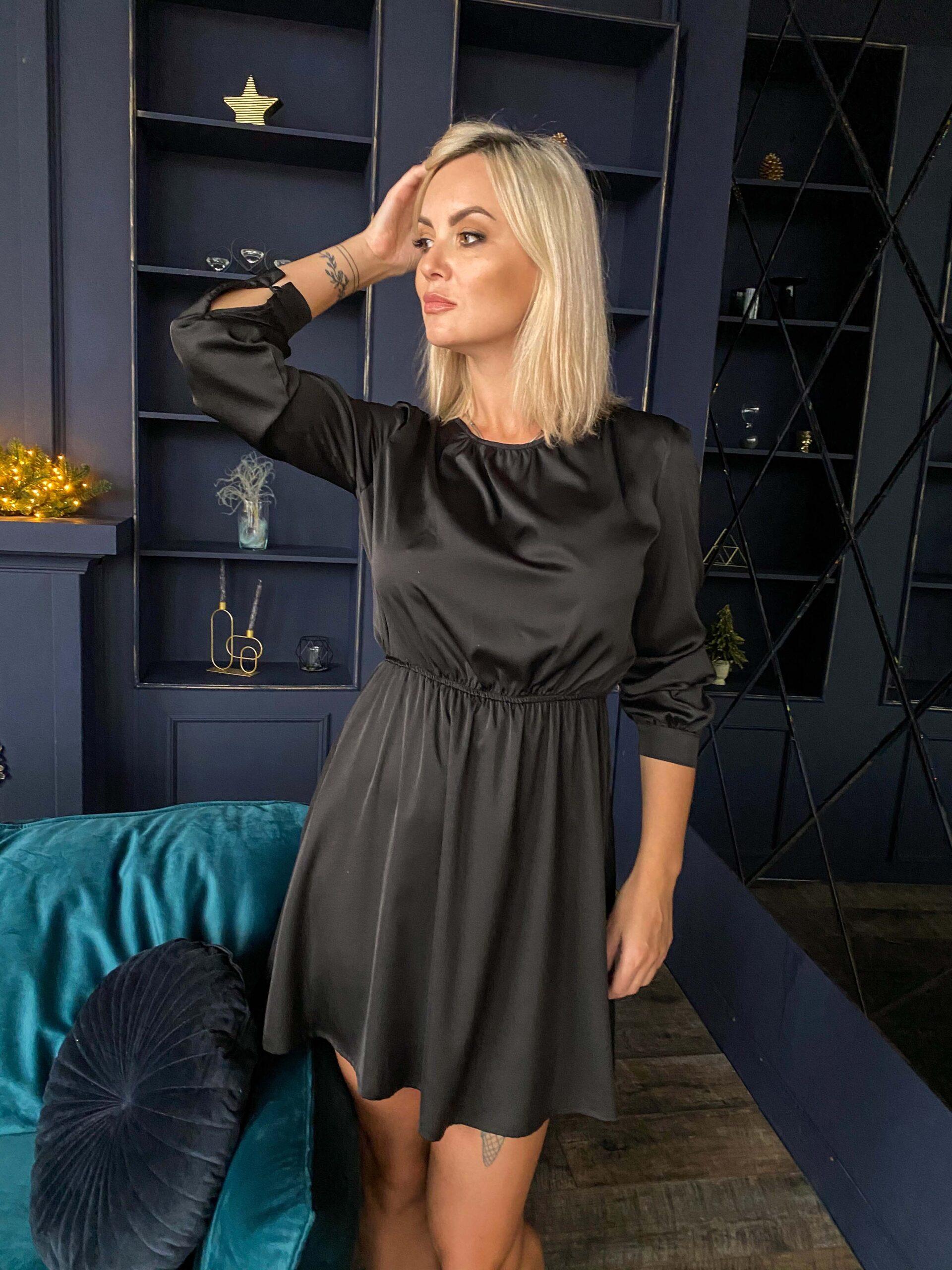Черное шелковое платье-мини