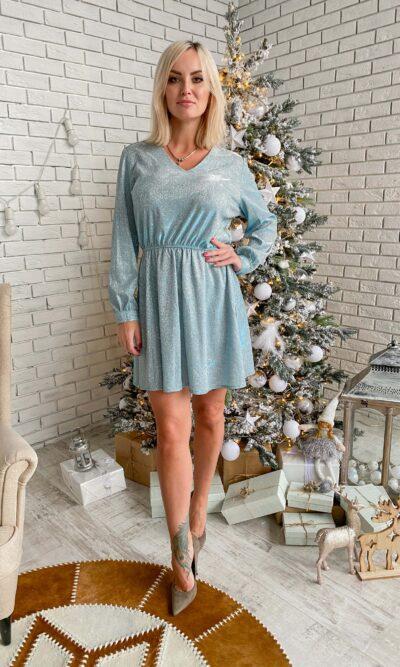 Блестящее платье c с длинным рукавом