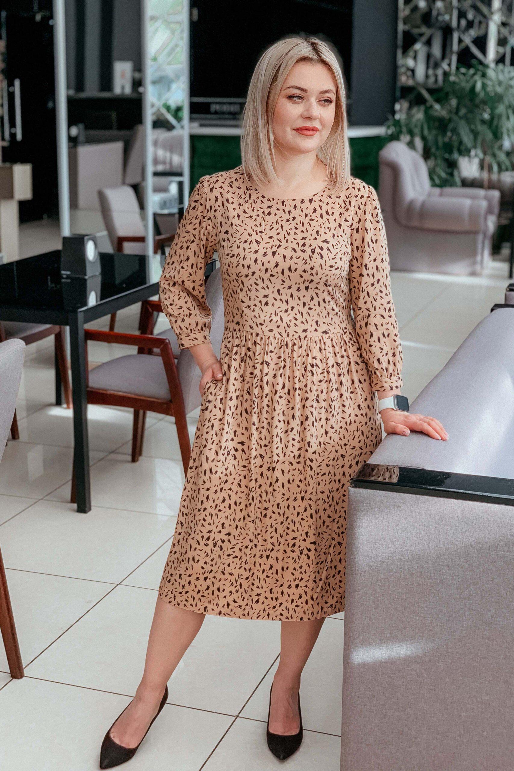 Леопардовое платье из штапеля