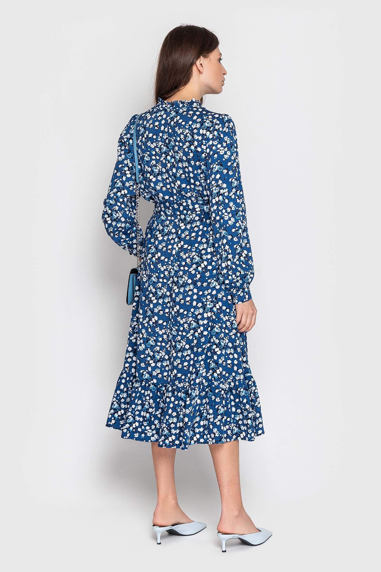 Платье из штапеля с рюшей и поясом