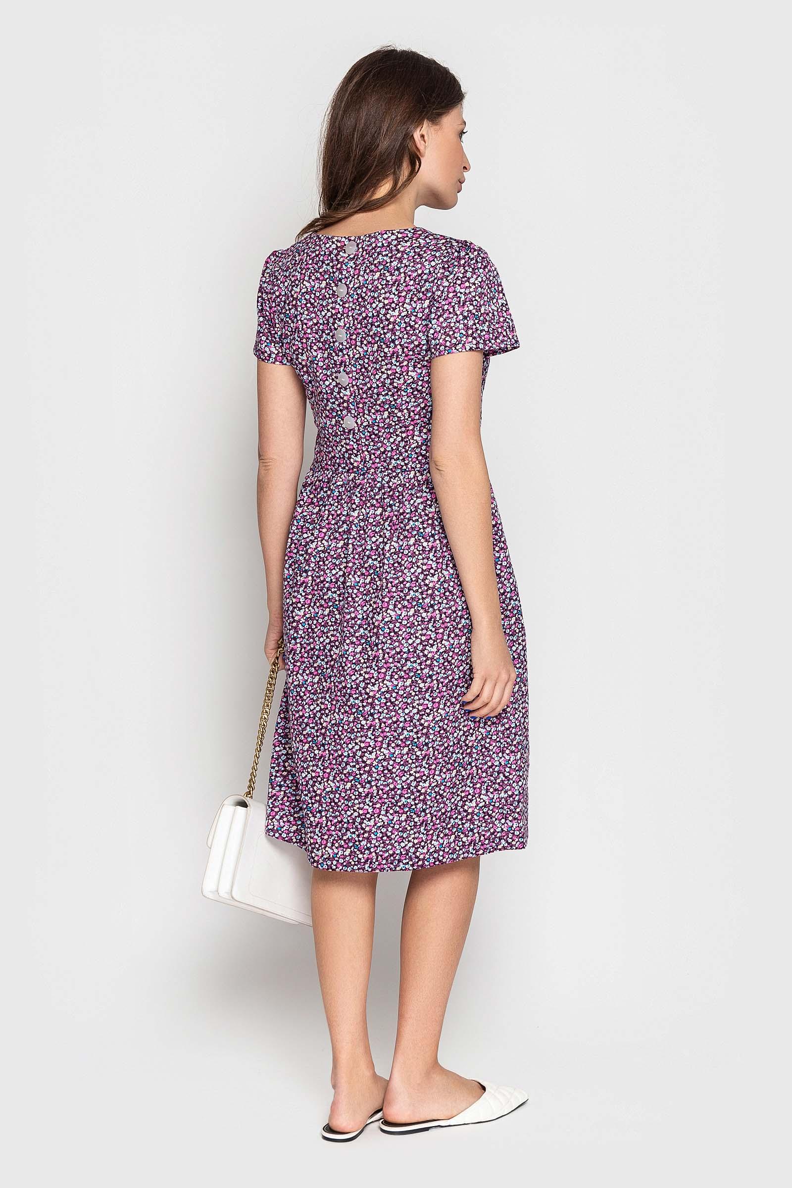 Сливовое платье с цветочным принтом
