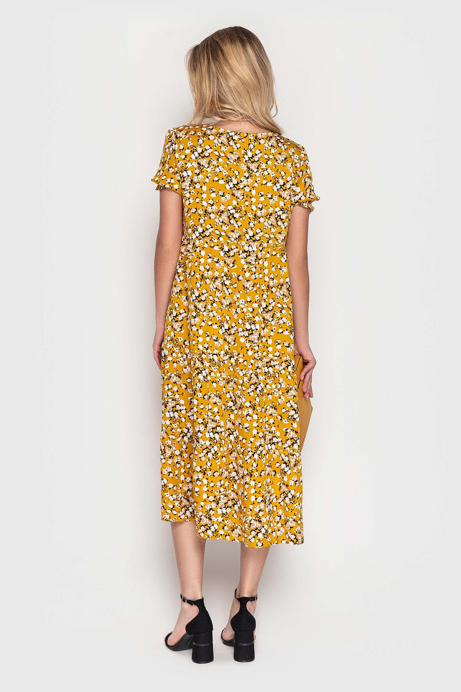 Меланжевое платье с цветами на каждый день