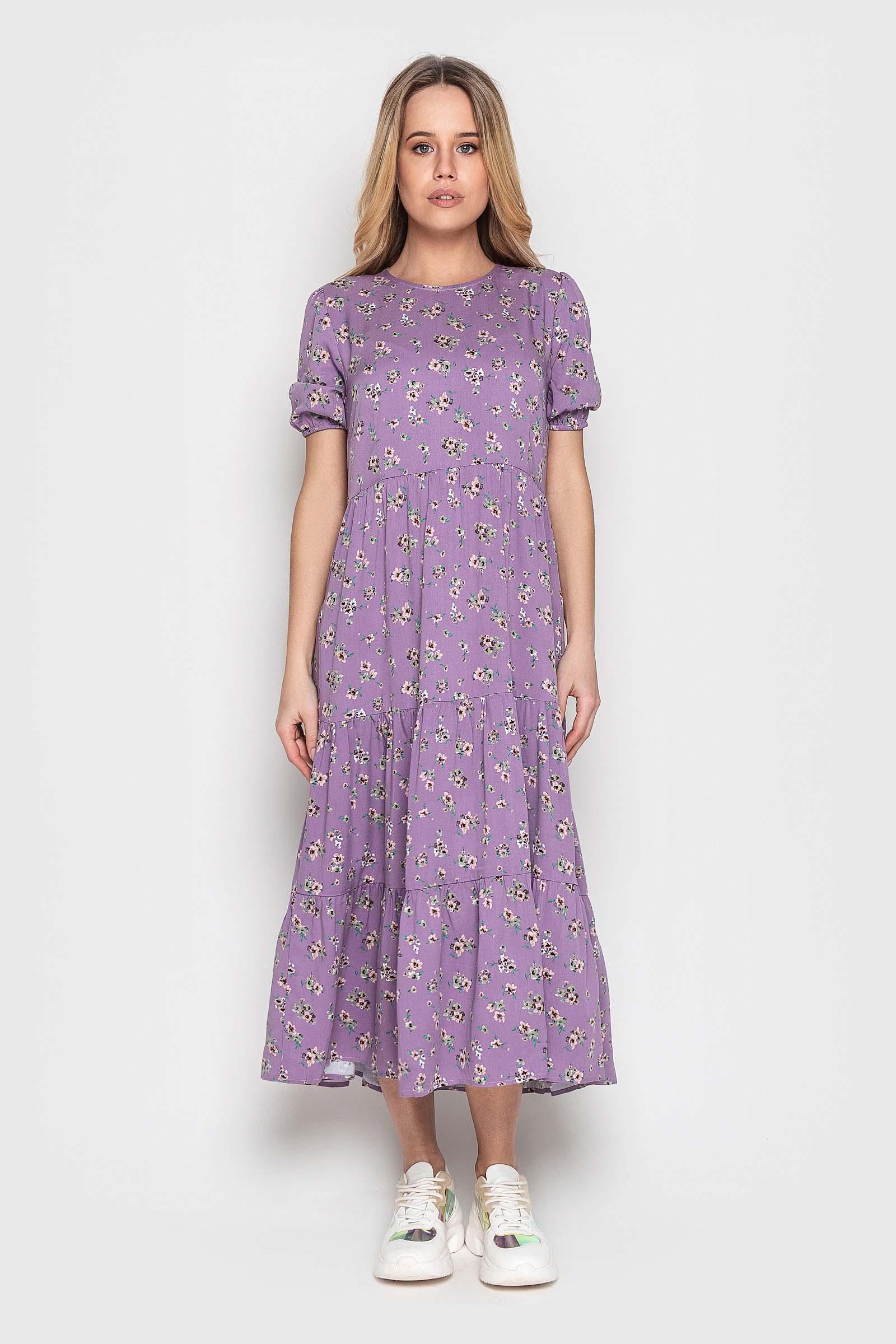 Стильное лиловое платье миди