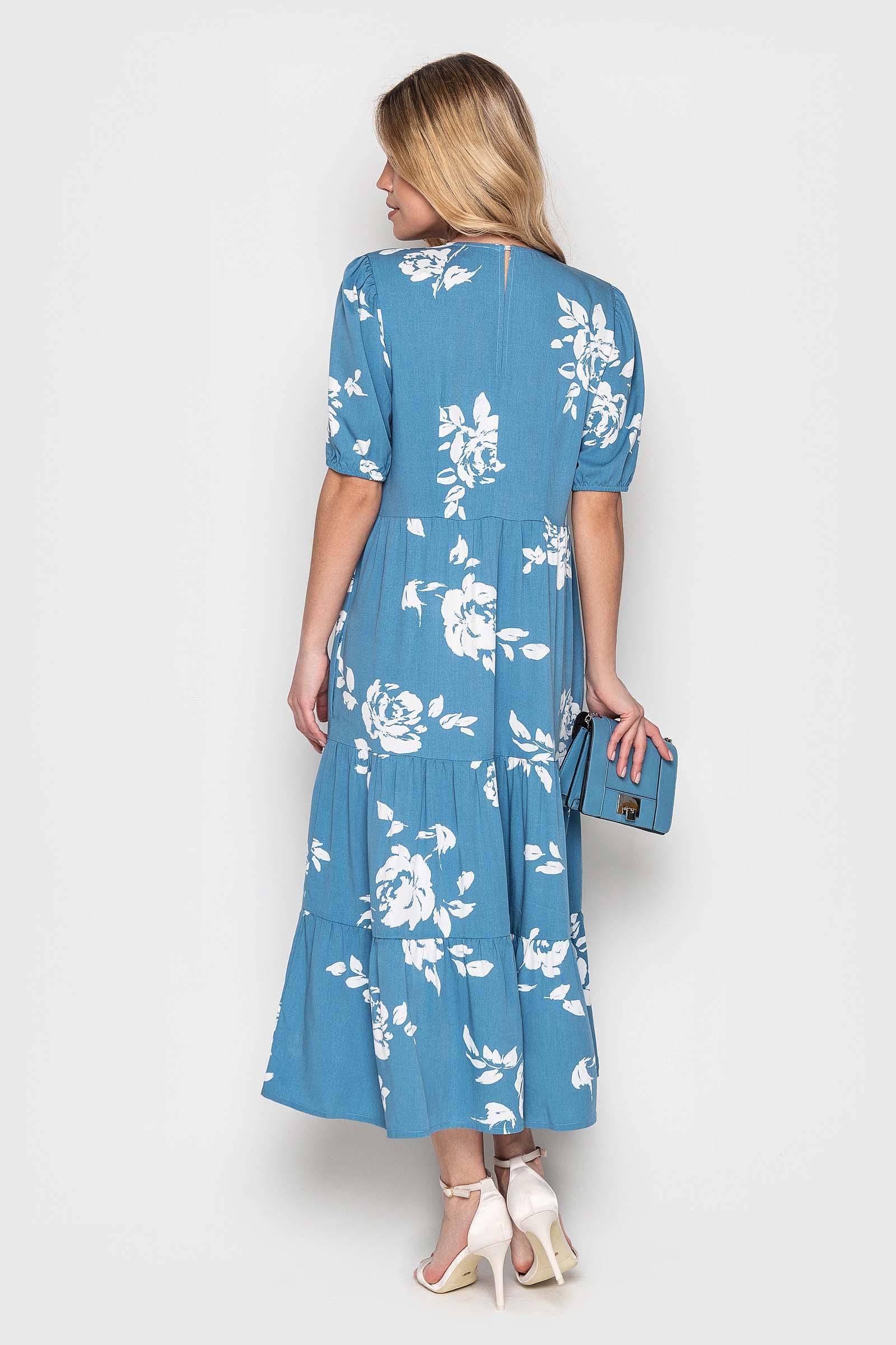 Стильное голубое платье миди